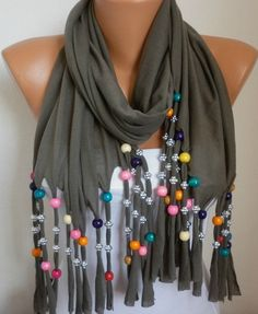 Dark Beige Bead Tricot ScarfBridal ShawlWedding by anils on Etsy