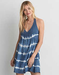 AEO Tie Dye Halter Dress, Navy   American Eagle Outfitters