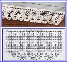 Great site for Fillet Crochet Filet Crochet, Crochet Lace Edging, Crochet Motifs, Crochet Borders, Crochet Cross, Crochet Chart, Crochet Home, Thread Crochet, Crochet Trim
