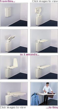 Fold away full size ironing board. I want this!