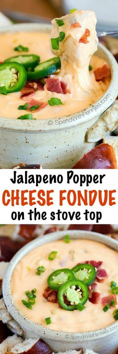 This Jalapeno Popper Cheese Fondue is easy, cheesy and crazy good! It comes together quickly on the stovetop. It's loaded with 4 kinds of cheese, crispy bacon and diced jalapenos! You can serve this in a bowl (no fondue pot required) or keep it warm in a ceramic pot.