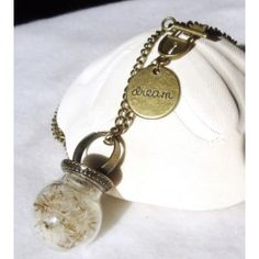 Dandelion Glass Orb Necklace Ring