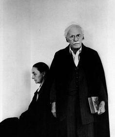 "Georgia O'Keeffe and Alfred Stieglitz NY 1944.  Alfred Stieglitz was 54 when Georgia arrived in New York...23 years her senior. Educated in Berlin, he had studied engineering and photography before returning to the States at the turn of the century and opening the 291 gallery. He pioneered the art of photography, and single-handedly introduced America to the works of Picasso, Matisse, and Cezanne at the gallery...along with publishing his well respected ""Camera Works"" magazine."