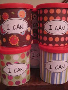 "Kids create their own examples of what they CAN do, write on a slip of paper, and put in their own ""I CAN!"" On a rough day, they can open up the ""I CAN"" and read some of their strengths as pick-me-ups."