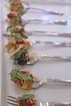Artisan pasta fork passed appetizer Photography by caitlintphotography.com, Day-Of Coordination and Catering by jpceventgroup.com