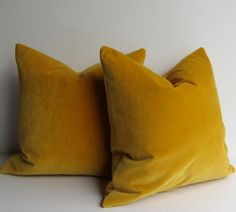 Set of Two - Saffron Yellow Pillow Covers - 20 inch - designer quality - sunny yellow - heavy weight velvet -  ready to ship
