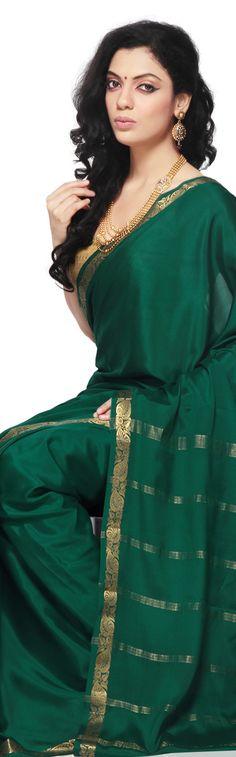 Mysore Silk green & gold #Saree, with Gold #Jewelry, #Desi Elegance