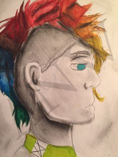 Cool Hair. Water color and pencil. Drawn by me Abby Whittington