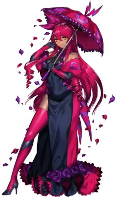 1girl bare_shoulders black_gloves covered_navel dark_skin dress drill_hair elbow_gloves flower full_body gloves hair_ribbon high_heels highres katagiri_hachigou long_dress long_hair looking_at_viewer parasol personification petals pokemon pokemon_(game) red_legwear redhead ribbon rose scolipede simple_background smile solo striped thigh-highs umbrella white_background yellow_eyes