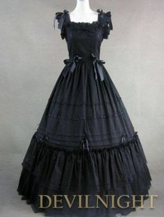Black Sleeveless Long Gothic Lolita Ball Gowns