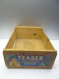 Vintage Teaser California Wood Wine Grape Flapper Alcohol Advertising Crate Box #Teaser