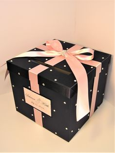 Wedding/Quinceañera/Sweet 16 Card Box Silver and Navy Gift Card Box Money Box Holder--Customize in your color/made to order Diy Card Box, Gift Card Boxes, Diy Gift Box, Diy Gifts, Cute Birthday Gift, Friend Birthday Gifts, Diy Birthday, Birthday Quotes, Valentine Box