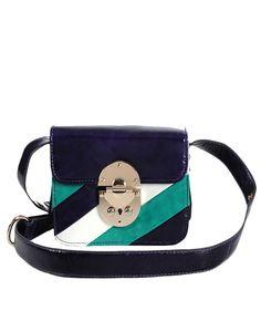 Striped Color-block Shoulder Bag