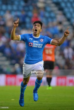 Angel Mena of Cruz Azul celebrates after scoring the first goal of his team during the 9th round match between Cruz Azul and Chiapas as part of the Torneo Clausura 2017 Liga MX at Azul Stadium on March 04, 2017 in Mexico City, Mexico.