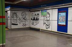 La intervención de La Banda del Rotu en la Estación de Metro de Moncloa. Proyecto Línea Zero. #Metro #Madrid #ArteUrbano #StreetArt #Arterecord 2015 https://twitter.com/arterecord
