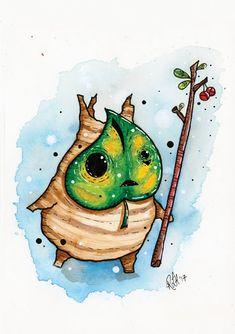 Makar Korok Watercolour Print Zelda Breath of the Wild/ Wind