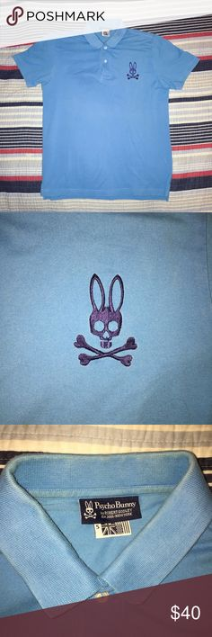 Psycho Bunny Polo Shirt Psycho Bunny Polo Shirt   - 100% Pima Cotton  - Lightly discolored on inside collar  - Designed by Robert Godley  - Size 5 ( Men's size Medium )  - Unique piece  - Turquoise Blue   Open to reasonable offers. Psycho Bunny Shirts Polos