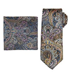 Men's Batik Bay Tie & Pocket Square, Beige Over