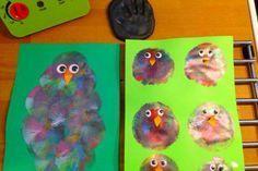 dyp ballon i maling og lav fugle med børnene