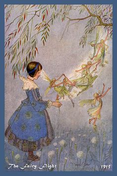 The Fairy Flight by Hilda Miller from 1915. Quilt Block of vintage fairy image printed on cotton. Ready to sew.  Single 4x6 block $4.95. Set of 4 blocks with pattern $17.95.