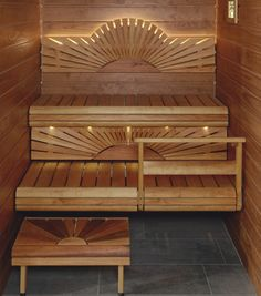 Sauna Lighting and Bench Form love love love