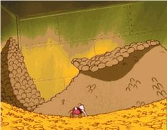 Scrooge McDuck, the only homeboy with stacks so high, they are a hazard. Share Gif, Scrooge Mcduck, Duck Tales, Life Is Like, American Made, Animated Gif, Disney, Spinning, Coins
