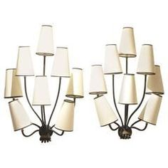 Pair Of Jean Royère Eight Stem Painted Wrought Iron Wall Sconces Lamps  #DecorativeWallSconces