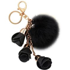 Amazon.com: Creative Fashion Handmade Alloy Lobster Clasp 3 Flowers... ($27) ❤ liked on Polyvore featuring accessories, key chain rings, fur key chain, ring key chain and fur key ring