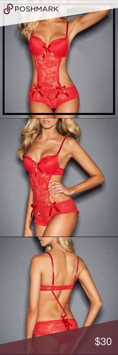 NEW RED LACE & BOWS APRON TEDDY INTIMATE LINGERIE 🆕❤️ SEXY RED LACE & BOWS APRON TEDDY ❤️ CLASSIC INTIMATE LINGERIE ❤️🆕  💋 Talk Flirty To Me....A Sexy & Red Hot Teddy to show off all your ASSets & more!   ▪️Size: L. ▪️Cup Size: B/C (Padded Push-Up Brassiere). ▪️Color: Red.  ❤️ Intimates & Sleepwear