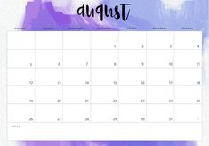 Cute August 2020 Calendar Template October Calendar Printable, Blank Calendar Pages, August Calendar, Cute Calendar, Printable Calendar Template, Planner Template, Desk Calendars, Monthly Calendars, Calendar Wallpaper