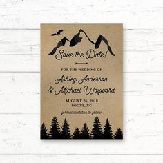 Mountains Kraft Paper Printable Save the Date Card Wedding Announcement by CrissyDesignCo