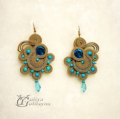 Soutache Statement soutache earrings Turquoise by YGSoutache