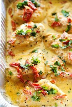 Romige kipfilet met zongedraagde tomaten uit de slowcooker recept