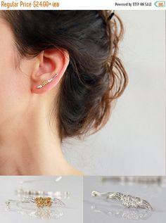 VACATION SALE Sterling Silver Ear cuff , Long Bar Ear Cuffs ,  Ear Climber , Gold Flower ear cuff , Wrap earring , Nature Jewelry
