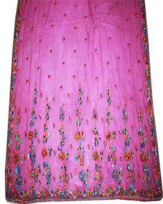 Vintage Sari Hand Beaded Sequins Pure Georgette Silk Floral Saree Blouse Pink | eBay