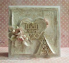 Dorota_mk Gillar pärlorna i slitsen. Scrapbook Cover, Scrapbook Cards, Wedding Anniversary Cards, Wedding Cards, Paper Cards, Diy Cards, Valentine Love Cards, Shabby Chic Cards, Wedding Scrapbook