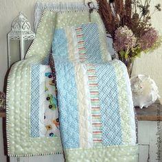 Лоскутное одеяло Утро в Провансе детское пэчворк - мятный,лоскутное одеяло