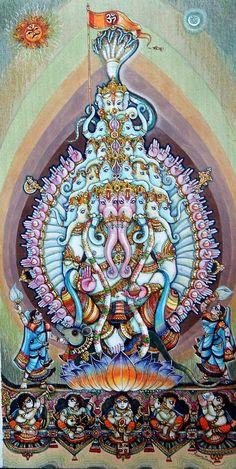 Lord Ganesha 3 by artist Anand Sonar Shiva Parvati Images, Shiva Hindu, Hindu Deities, Hindu Art, Religious Paintings, Indian Art Paintings, Religious Art, Lord Ganesha Paintings, Ganesha Art