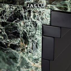 Detail of our Joe Console in green mica and black lacquer. Designed by Jallu. Jallu Creations 2021, interior design, one of a kind furniture