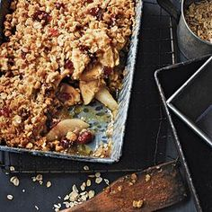 The tart and tangy cranberries complement the sweet apples and pears in this warm, streusel-topped delight. Try serving it à la mode as the grand finale of a holiday dinner. View Recipe: Apple, Pear, and Cranberry Crisp Healthy Apple Desserts, Best Gluten Free Desserts, No Cook Desserts, Just Desserts, Dessert Recipes, Dessert Ideas, Healthy Food, Pear Recipes, Cranberry Recipes