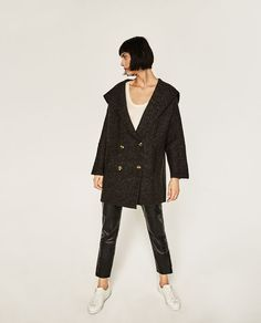 Image 1 of DOUBLE BREASTED JACKET WITH HOOD from Zara
