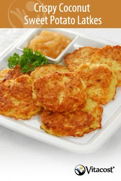 Healthy Hanukkah Recipe: Crispy Coconut Sweet Potato Latkes How could latkes get even better? By being healthy and made with sweet potatoes. It's a dream com Healthy Hanukkah Recipes, Vegetarian Recipes, Cooking Recipes, Healthy Recipes, Slow Cooking, Pressure Cooking, Cooking Tips, Healthy Food, Sin Gluten