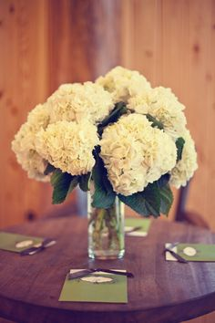 White hydrangeas for wedding centerpiece