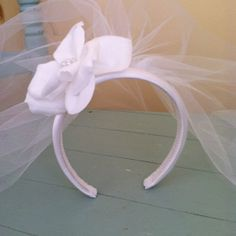 First Communion Veil with Flower Headband available in White or Ivory  (Flower created w/ option of pearl or bead center) on Etsy, $31.00