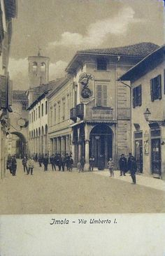 1908 Imola - Via Umberto I Caffè pubbl. Fernet Branca