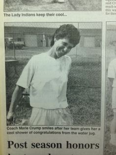 photo from the June 24, 1994, edition of the Powhatan Today shows Powhatan High School softball head coach Marie Crump grinning from ear to ear after winning the first state title in school history.