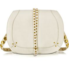 Jerome Dreyfuss Nestor Cream Festival Leather Large Shoulder Bag (£650) ❤ liked on Polyvore featuring bags, handbags, shoulder bags, studded handbags, woven leather handbags, leather handbags, studded purse and real leather handbags