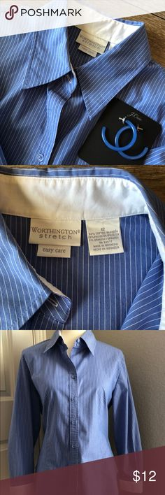 """Worthington Stretch Easy Care Pinstripe Shirt Worthington Brand Stretch Easy Care Pinstriped Shirt, Size Large. Blue & white w/White Collar & Sleeve cuffs. Tailored fit w/stretch😊56% Cotton, 29% Polyester, 5% Spandex. Measurements while flat (approximate): UA to UA 21"""" & Length is 24.5"""", but varies d/t rounded shirttail hem. Great for work/office! Worthington Tops Button Down Shirts"""