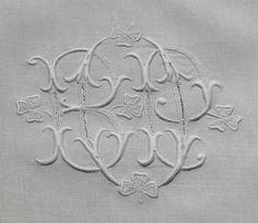 Em's Heart Antique Linens -Antique Linen Lace Monogrammed Tea Cloth