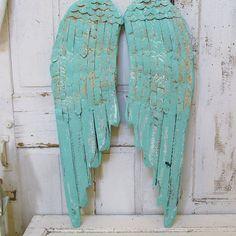 Light sea green wood and metal angel wings by AnitaSperoDesign